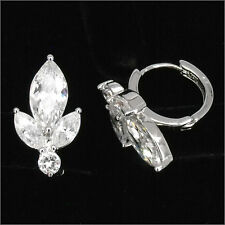 Floral 18K W GP Wedding Party Earrings Pairs Hoop Lady Costume Jewelry CZ Clear
