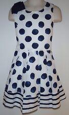 Gymboree Girls Seaside Stroll Dress White W/Blue Polka Dots Sailor Dress Sz 5NWT