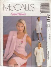 McCALL'S PATTERN 2618 SIZE 14 MISSES' DRESS  & LINED JACKET