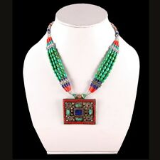 Nepali Turquisoe with Red Coral & Lapis Lazuli Handmade Pendant Necklace NN-9175
