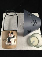 Crazy Mountain snowman Votive Candle Lamp Holder & metal Shade new