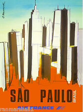 Sao Paulo Brazil South America American Vintage Travel Advertisement Poster 2