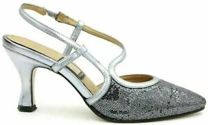 Nina Women Pointed Toe Slingback Heels Size US 6M Black Sequins Silver Leather