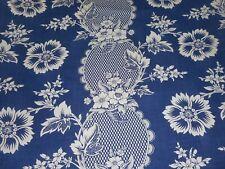 Vintage Retro French Deep Indigo Blue Floral Garland Cotton Linen Fabric ~