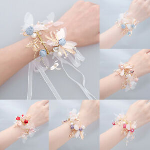 Bridesmaid Bride Flower Bracelet Wrist Flower Wedding Party Flower Multicolor