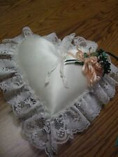 White Heart Shaped Ring Pillow/Lace & Peach Floral Accents/13""