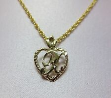 "Initial With An 18"" Rope Chain 14Kt Gold Ep Personalized Letter X Heart"