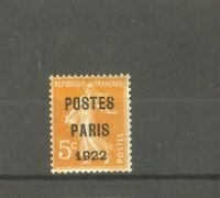 """FRANCE STAMP TIMBRE PREOBLITERE N°30 """"SEMEUSE 5c POSTES PARIS 1922"""" NEUF xx TB"""