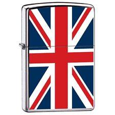 Zippo 7961, United Kingdom Flag, High Polish Chrome Finish Lighter, Full Size