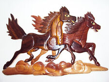 Hand Carved Wood Art Intarsia 2 Running Horses Wood sign Wall Plaque Decor
