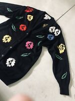 Escada 34 Black Knit Cardigan Sweater Floral Chunky Autumn Leaves Flower Jacket