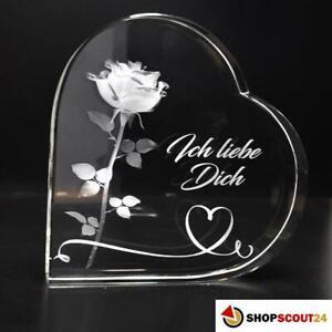 Lasergravierte 3D-Rose in herzförmigem Kristallglas, eine tolle Geschenkidee