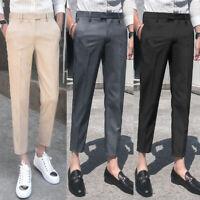 Mens Skinny Pencil Cropped Pant Formal Suit Dress Trousers Slim Fit Casual Pants