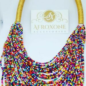 African Fashion Robe Necklace - multi color beads- Afroxone Accessories