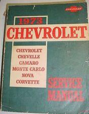 1973 Chevrolet Factory Service Manual Camaro Chevelle Corvette Nova Monte Carlo