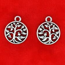 10 x Tibetan Silver Tree Of Life In Circle Charm Pendant Bead Jewellery Making