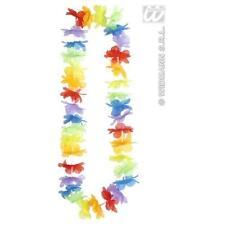 Rainbow Hawaiian Garland Necklace Leis Hula Girl Gay Pride Fancy Dress