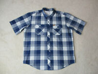 Orvis Button Up Shirt Adult Extra Large Blue White Plaid Camp Outdoors Mens
