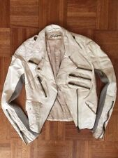 Share Spirit Genuine distressed leather white motorcycle jacket women sz S