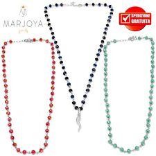 Collana stile rosario,swarovski neri,verdi,bianco,blu,cornetto e argento 925