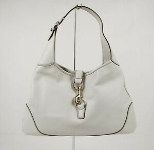 New Authentic Gucci Jackie Ivory Leather Hobo Bag 153029 9014