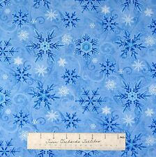 Christmas Fabric - Something Blue Snowflake Toss Light Henry Glass Cotton YARD