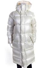 Ralph Lauren Blue Label Womens Knee Length Hooded Puffer Coat White Size Small