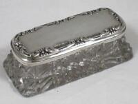 Antique Sterling Silver Top & Clear Glass Table Top Trinket Pot / Box dated 1907