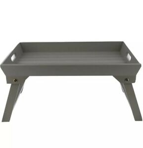 New GREY WOODEN BREAKFAST SERVING LAP TRAY OVER BED TABLE WITH  FOLDING LEGS