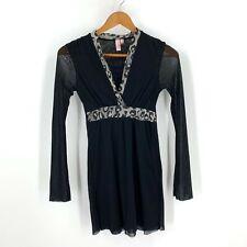Sweet Pea Stacy Frati Crossover Tunic Top Shirt Size S Black Animal Print J1