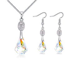 Sparkly Teardrop Necklace Earrings Made With Aurora Borealis Swarovski Crystals
