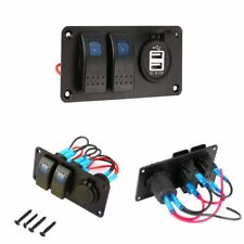 2 Gang Circuit Blue LED Rocker Switch Panel 2USB 3.1A Charger Waterproof for Car