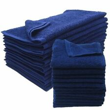 24 NEW NAVY BLUE SALON GYM SPA TOWELS RINGSPUN HAND TOWELS 16X27 2.9 LB
