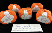 New NARVIK COTTON DK Yarn Young Touch LOT of 5 Balls 50gx5 Orange UK-Italy