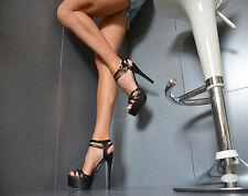 Neu Designer Damenschuhe Peep-Toes High Heels Party Pumps Schwarz 36-40