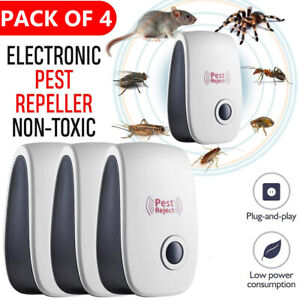 4x Ultrasonic Plug In Pest Repeller Deter Mouse Mice Rat Spider Insect Repellent