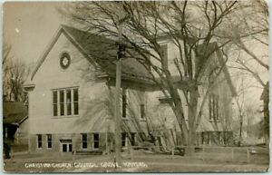 "1910s COUNCIL GROVE Kansas RPPC Photo Postcard ""Christian Church"" Building View"