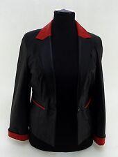 Lederjacke Universal Leder Übergangsjacke Lederblazer schwarz rot Gr. M
