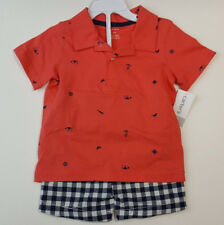Carter's Boys Red Nautical Polo Top & Check Shorts Set 2T NWT