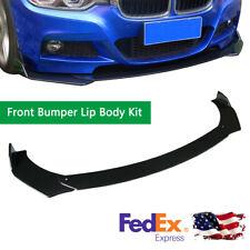 Universal Front Bumper Lip Spoiler Splitter For Car Truck SUV Black Glossy 3Pcs