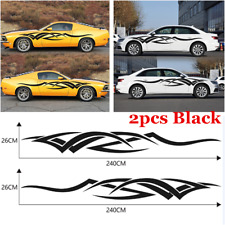 Pair Black Graphics Decals Stickers Flame Totem Auto Car Side Body Accessories