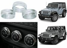 3pc Silver Climate Control Trim Rings For 2011-2017 Jeep Wrangler New Free Ship
