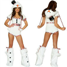 Snowman Romper Sexy Women White Christmas Costume Outfit Hat Leotard Leg Warmers