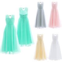 Flower Girls Princess Dress Long Maxi Party Formal Open Back Wedding Bridesmaid