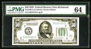 1928 $50 FRN-FR # 2100-E-(EA BLOCK)RARE 5 RICHMOND-PCGS 64 CHOICE UNCIRCULATED