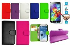 ANTISHOC Flip Wallet Leather Book Case Cover &Tempered Glass FOR Samsung Galaxy
