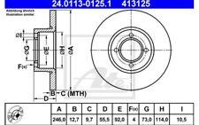 ATE Juego de 2 discos freno 246mm Para OPEL KADETT VAUX CAVALIER 24.0113-0125.1