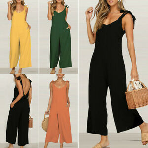 Womens Summer Casual Jumpsuit V Neck Strappy Backless Loose Fit Romper Playsuit