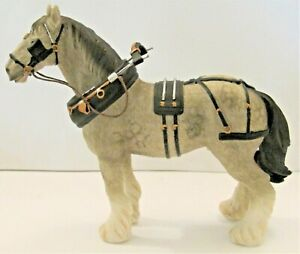 Leonardo Resin Horse Figures - SHIRE Horse In Work Gear - Grey  - Small Version