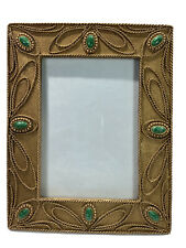 Picture Frame Jeweled & Art Deco Holds 5x7 Photo Desktop 7.5in X 10in Gold Green